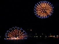 湖上の花火と打ち上げ花火