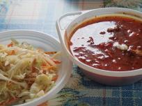 ボルシチとサラダ